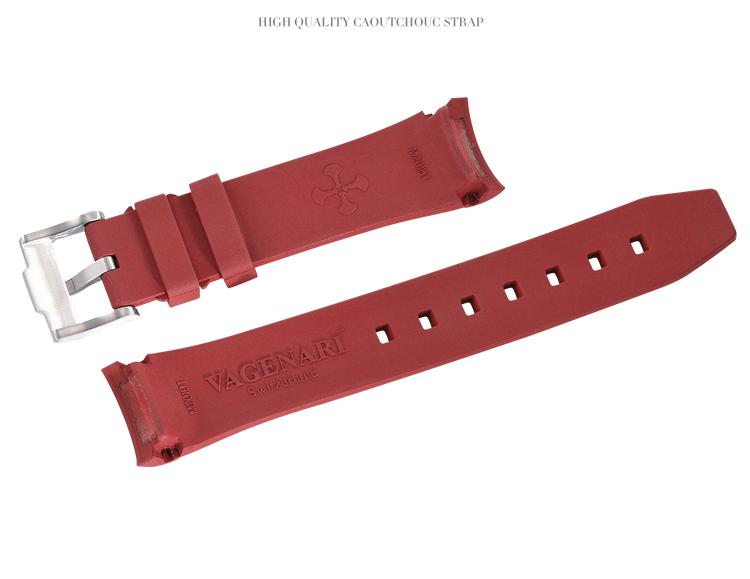 ロレックス/Rolex デイトナ/Daytona 116500、116503、116520、116523適用 VAGENARI ラバーストラップ/ベルト バックル付き 赤