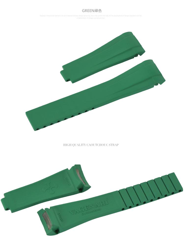 ロレックス/Rolex デイトナ/Daytona 116508に適用 VAGENARI ラバー ストラップ/ベルト グリーン