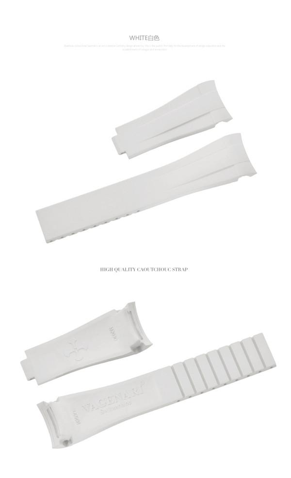 Rolex ロレックス Explorer I エクスプローラー 214270に適用 ファクトリーアウトレット ストラップ ラバー Vagenari 39mm ホワイト ベルト 買い物