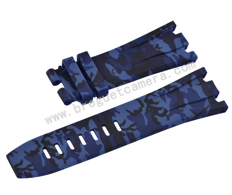 Audemars Piguet/オーデマピゲ Royal Oak Offshore/ロイヤル オーク オフショア 44mm AP 26400 26401適用Vagenari ラバー ストラップ/ベルト 迷彩/カモフラージュ ブルー