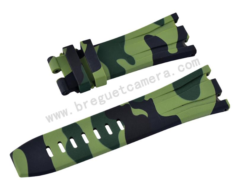 Audemars Piguet/オーデマピゲ Royal Oak Offshore/ロイヤル オーク オフショア 44mm AP 26400 26401適用Vagenari ラバー ストラップ/ベルト 迷彩/カモフラージュ アーミーグリーン