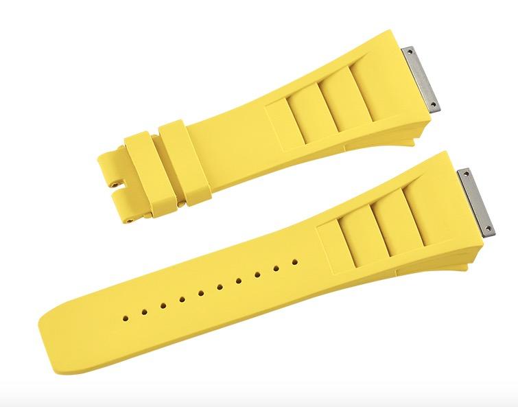 Richard Mille リチャード・ミラー RM030 RM035 RM055用ベルト Vagenari ラバー ウオッチ ストラップ 黄色 Yellow