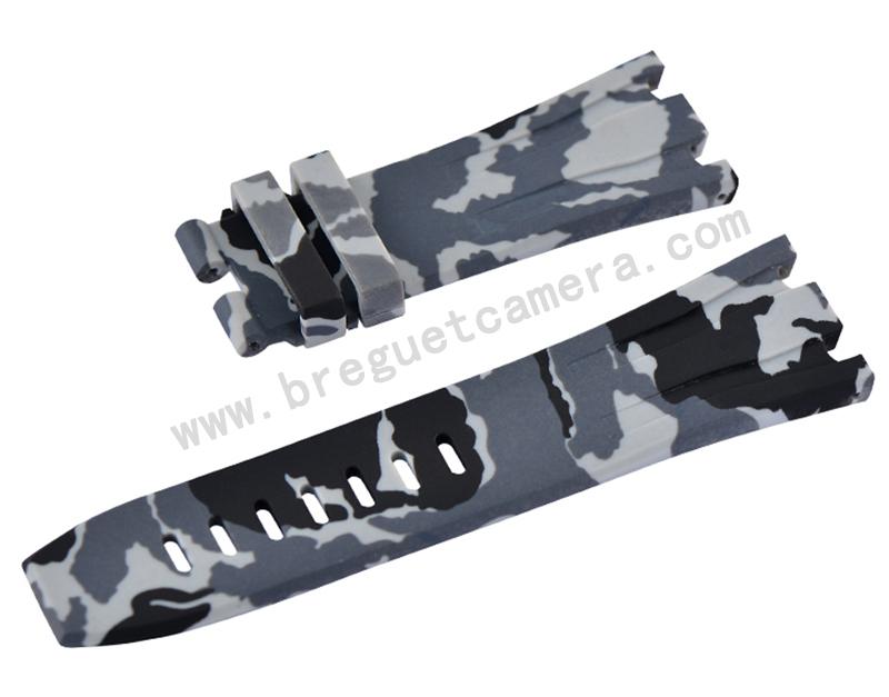 Audemars Piguet/オーデマピゲ Royal Oak Offshore/ロイヤル オーク オフショア 44mm AP 26400 26401適用Vagenari ラバー ストラップ/ベルト 迷彩/カモフラージュ グレー