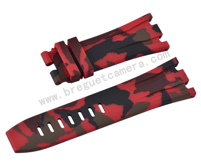 Audemars Piguet/オーデマピゲ Royal Oak Offshore/ロイヤル オーク オフショア 44mm AP 26400 26401適用Vagenari ラバー ストラップ/ベルト 迷彩/カモフラージュ レッド