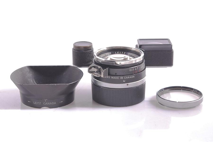珍品ライカLeica Leitz Summilux M 35mm f1.4 スチール リム M3版 純正フード フィルター付 #HK7366