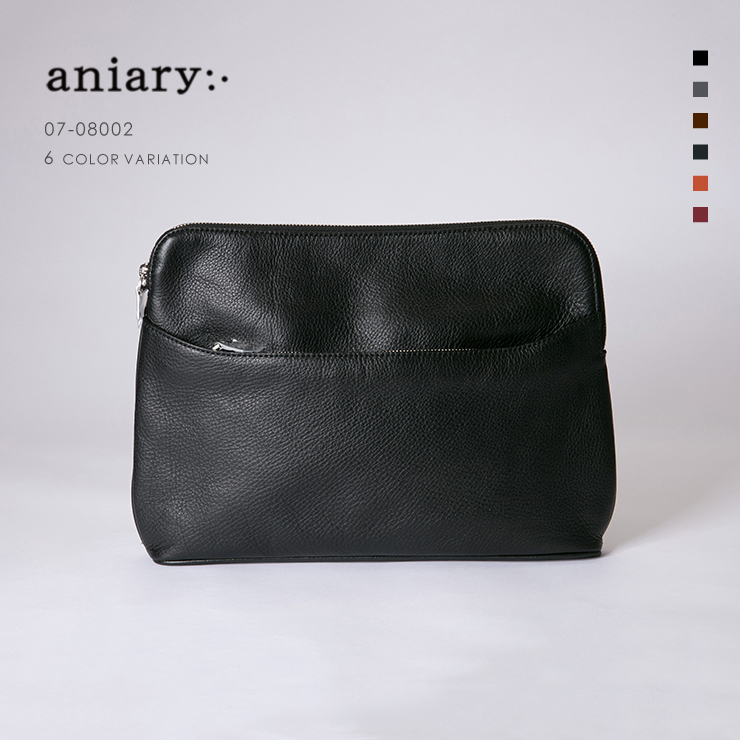 【aniary|アニアリ】Shrink Leather シュリンクレザー 牛革 Clutch クラッチバッグ 07-08002 [送料無料]