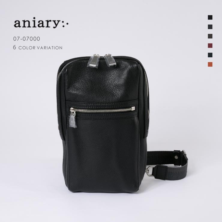 【aniary|アニアリ】Shrink Leather シュリンクレザー 牛革 Body Bag ボディバッグ 07-07000 [送料無料]