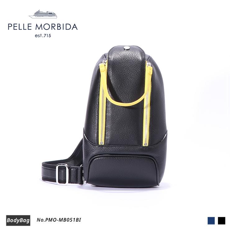 【期間限定!ケアセットプレゼント☆】【PELLE MORBIDA|ペッレモルビダ】Maiden Voyage 型押しレザー 牛革 Body Bag ボディバッグ PMO-MB051BI [送料無料]
