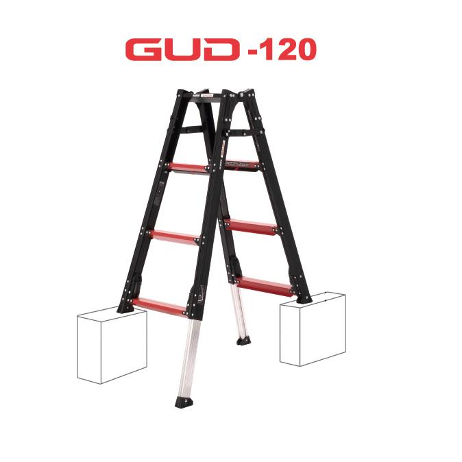 伸縮脚を立ったまま調整できるはしご兼用脚立・GUD120 【送料無料】【直送】アルインコ GAUDI ガウディ 上部操作型 伸縮脚付きはしご兼用脚立 120cm GUD-120