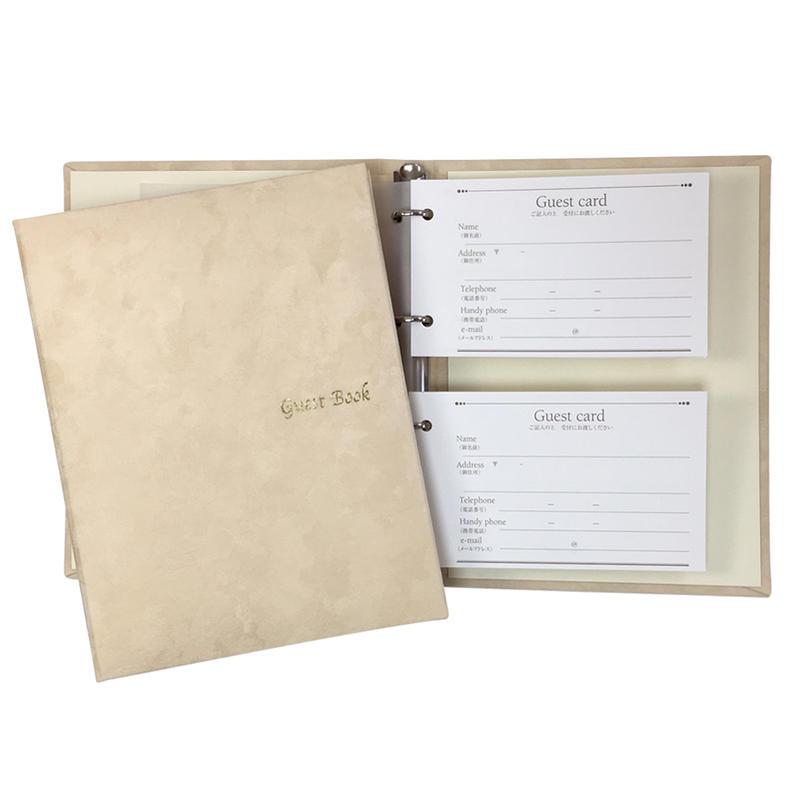 ゲストに予めお名前や住所を書いていただくから当日の受け取りがスムースバインダー式なので後日の住所管理に便利 あす楽 安い 激安 プチプラ 高品質 芳名帳 ゲストブック カード式 カード60枚付 2020A/W新作送料無料 ルナ