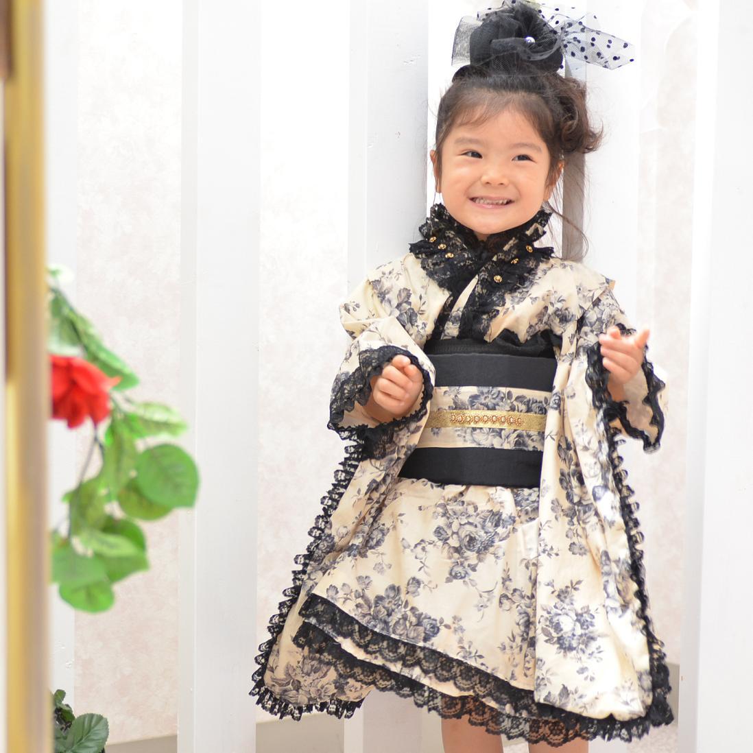 368k【3歳/黒フリルドレス/レンタル4泊5日/往復送料無料】《3歳 753 七五三 子供 女の子 着物 きもの かわいい 黒色 フルセットレンタル》