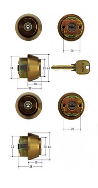 MIWA U9シリンダー TE18タイプ 2個同一 ブロンズ色 【FSMCY-430】【取替用シリンダー】【美和】【ミワ】