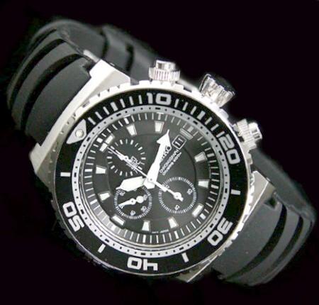 SEIKO/200m diver 's watch 크로 노 그래프 남성 시계 블랙 문자판 고무 벨트 SNDA13P2 (해외 모델)