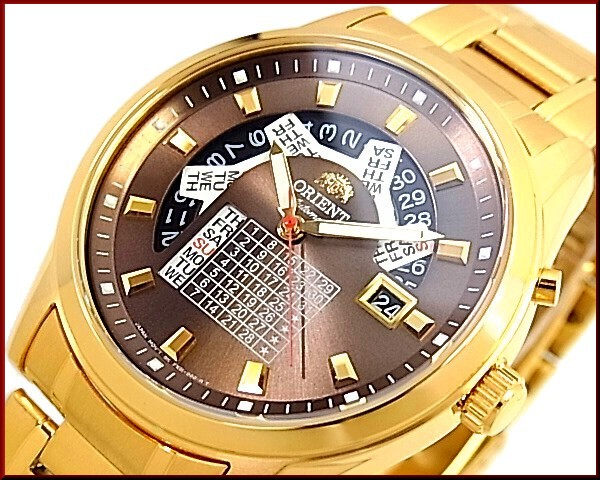 ORIENT 남성용 시계 자동 권 멀티 캘린더 브라운 문자판 골드 메탈 벨트 FFX01001TH 해외 모델