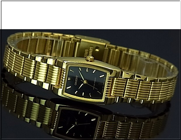 ORIENT standard quartz Lady's watch black clockface gold metal belt (Made in JAPAN)SUBBD004B0