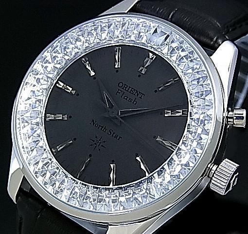 ORIENT/FLASH North star【オリエント/ノーススター】メンズ腕時計 手巻き MADE IN JAPAN ブラック文字盤 ブラックレザーベルト URL001DL
