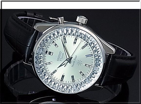 ORIENT/FLASH North star 남성용 시계 태엽 MADE IN JAPAN 샴페인 문자판 블랙 가죽 벨트 URL003DL