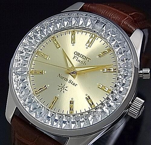 ORIENT/FLASH North star【オリエント/ノーススター】メンズ腕時計 手巻き MADE IN JAPAN ゴールド文字盤 ブラウンレザーベルト URL002DL