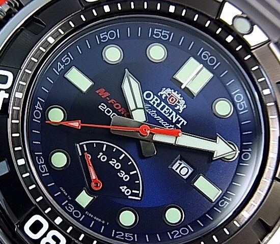 ORIENT/M-FORCE 200mDIVER'S/다이 버 워치 남성용 시계 자동 와인딩 파워 리 저 브 해군 문자판 메탈 벨트 MADE IN JAPAN 해외 모델 SEL06001D0