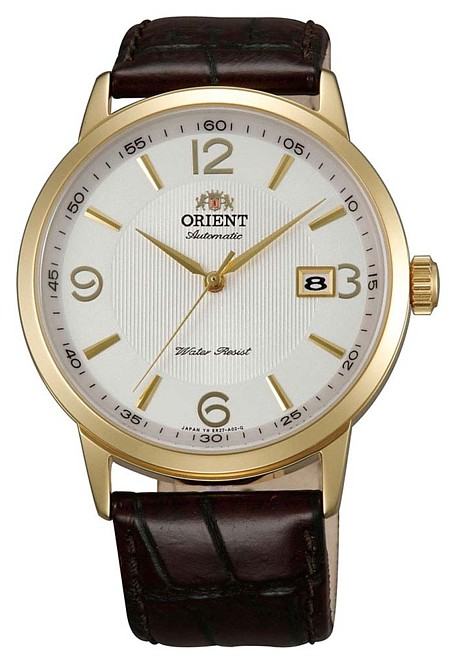 ORIENT men watch self-winding watch gold case white clockface brown leather belt MADE IN JAPAN foreign countries model SER27004W0