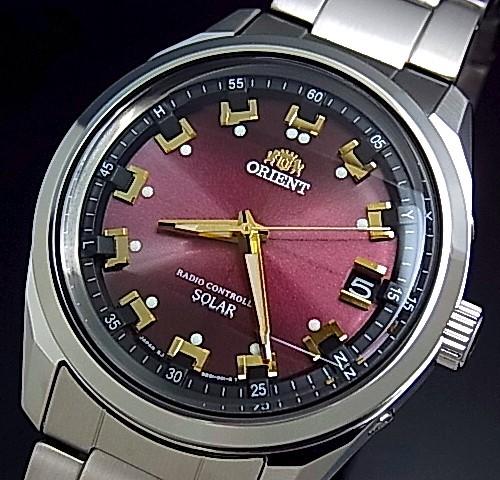 【ORIENT/オリエント】ソーラー電波腕時計 メンズ ワインレッド文字盤 メタルベルト【送料無料】MADE IN JAPAN 国内正規品 WV0081SE