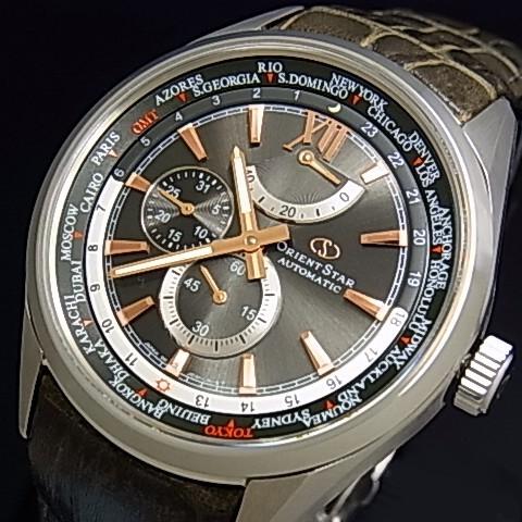 ORIENT/Orient Star【オリエント/オリエントスター】ワールドタイム メンズ腕時計 自動巻 パワーリザーブ ブラウン/ピンクゴールド文字盤 グレイシュッブラウンレザーベルト【送料無料】WZ0091JC(国内正規品)