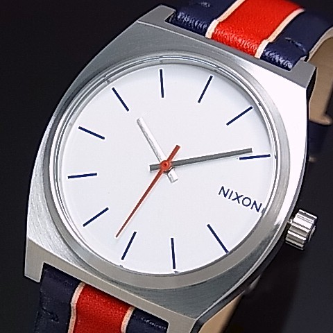 NIXON【ニクソン】TIME TELLER/タイムテラー ボーイズ 腕時計 ホワイト/ストライプス ホワイト文字盤 ネイビー/レッドレザーべルト【送料無料】A045-1854(国内正規品)
