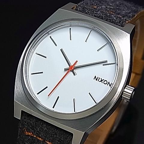 NIXON【ニクソン】TIME TELLER/タイムテラー ボーイズ 腕時計 グレイ/タン ホワイト文字盤 グレイ/ブラウンレザーべルト【送料無料】A045-2476(国内正規品)
