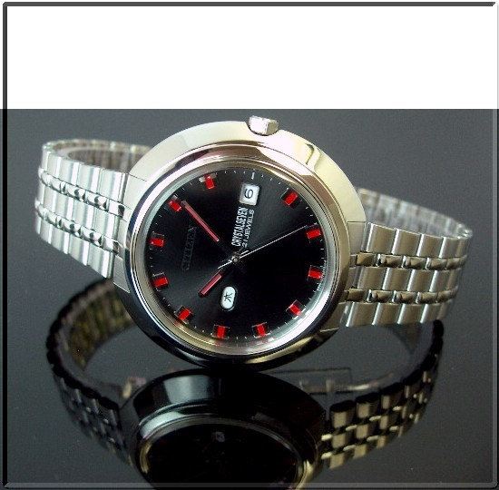 CITIZEN/CRYSTALSEVEN 자동권맨즈 손목시계 블랙 문자판 메탈 벨트(국내 정규품) CTV66-0536-SS