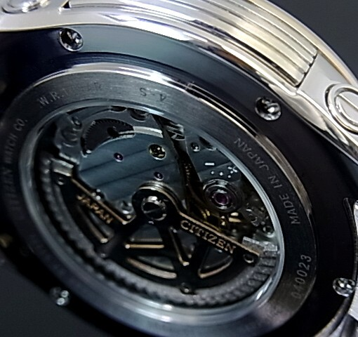 CITIZEN/Automatic 자동 권 남자 시계 블랙 문자판 콤 비 메탈 벨트 NP3004-53E MADE IN JAPAN (해외 모델)