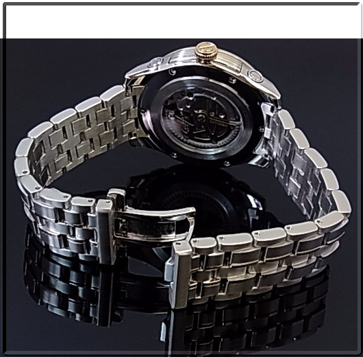 CITIZEN/Automatic 자동 권 남자 시계 블랙 문자판 콤 비 메탈 벨트 NP3004-53E MADE IN JAPAN (해외 모델)