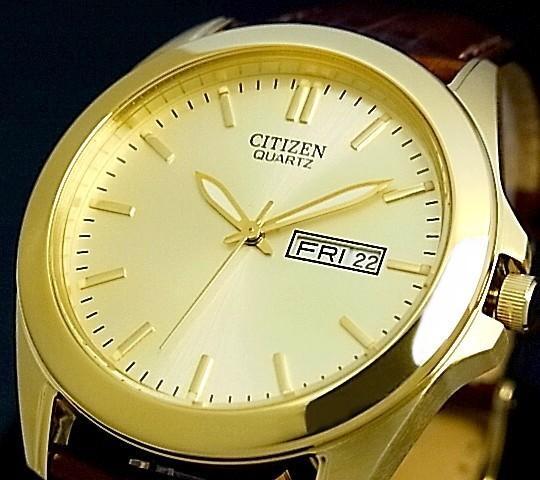CITIZEN/Standard【シチズン/スタンダード】メンズ腕時計 シャンパンゴールド文字盤 ブラウンレザーベルト BF0582-01P 海外モデル【並行輸入品】