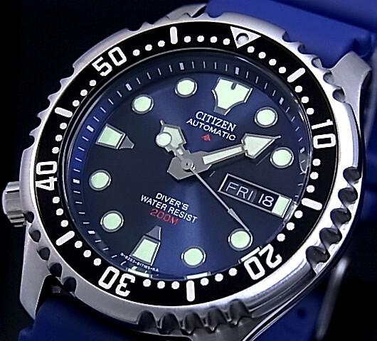 CITIZEN/PROMASTER 남자 시계 200M 방수 다이 버 자동 권 해군 문자판 해군 고무 벨트 NY0040-17L (해외 모델)