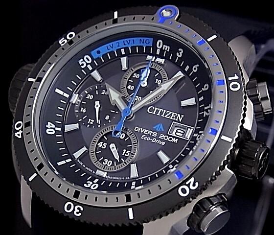 CITIZEN/PROMASTER MARINE men's solar watch chronograph 200 M waterproof diver's gunmetal character dial black rubber belt BJ2120-07E (international model)