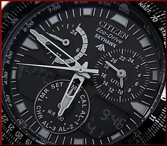 CITIZEN/PROMASTERSkyhawk/스카이 호크 남자 태양 시계 블랙 문자판 블랙 메탈 벨트 JR3159-53E (해외 모델)