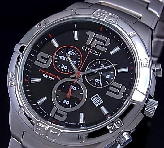 CITIZEN/Chronograph【シチズン/クロノグラフ】メンズ腕時計 ブラック文字盤 メタルベルト AN7080-55E 海外モデル【並行輸入品】