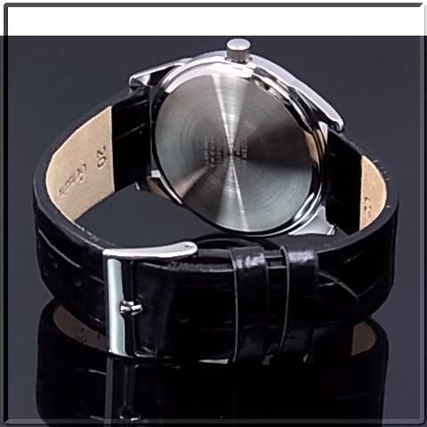 CITIZEN/Standard 남자 시계 실버 문자판 블랙 가죽 벨트 BK2437-04A (해외 모델)