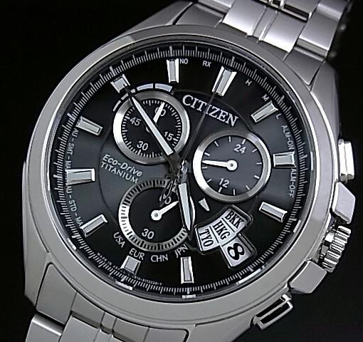 CITIZEN【シチズン】メンズ ソーラー電波腕時計 クロノグラフ チタン ブラック文字盤 メタルベルト BY0051-55E MADE IN JAPAN 海外モデル【並行輸入品】