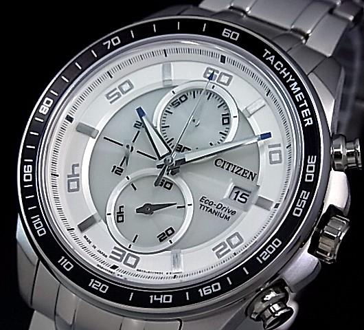 CITIZEN/Chronograph【シチズン/クロノグラフ】チタンモデル メンズ ソーラー腕時計 シルバー文字盤 メタルベルト CA0341-52A MADE IN JAPAN 海外モデル【並行輸入品】