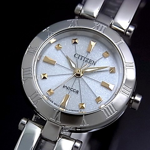 CITIZEN/WICCA【シチズン/ウィッカ】 レディース腕時計 ソーラー腕時計 グレー文字盤 メタルベルト NA15-1572C(国内正規品)