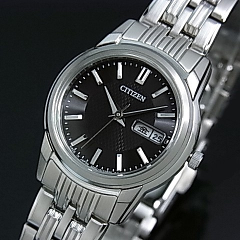 CITIZEN/エコドライブ【シチズン】レディース ソーラー腕時計 ブラック文字盤 メタルベルト EW3230-51E MADE IN JAPAN(国内正規品)