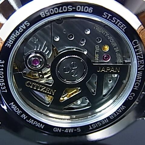 CITIZEN/Automatic 자동 권 남자 시계 블랙 문자판 블랙 가죽 벨트 NB0000-01E MADE IN JAPAN (해외 모델)