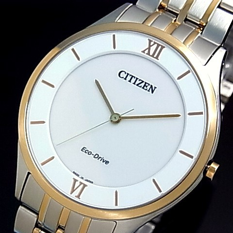 CITIZEN/エコドライブ【シチズン】メンズ ソーラー腕時計 ホワイト文字盤 コンビメタルベルト AR0074-51A MADE IN JAPAN 海外モデル【並行輸入品】