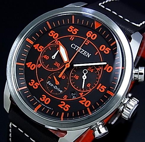 CITIZEN/Chronograph【シチズン/クロノグラフ】メンズ ソーラー腕時計 ブラック文字盤 ブラックレザーベルト CA4210-08E 海外モデル【並行輸入品】