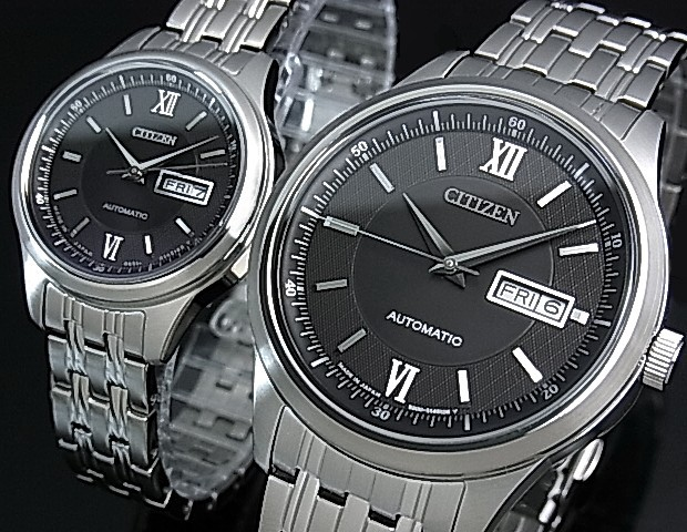 CITIZEN/Automatic【シチズン/オートマチック】自動巻 ペアウォッチ 腕時計 ブラック文字盤 メタルベルト NY4050-54E/PD7150-54E(国内正規品)MADE IN JAPAN【送料無料】
