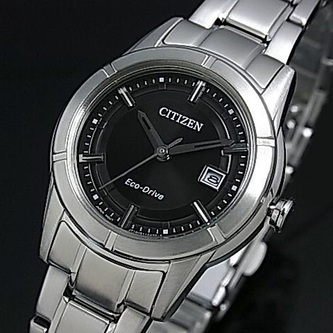 CITIZEN/Standard【シチズン/スタンダード】レディース ソーラー腕時計 ブラック文字盤 メタルベルト FE1030-50E 海外モデル【並行輸入品】