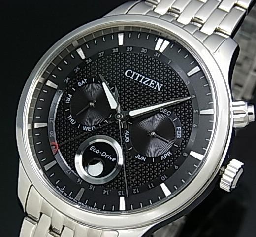 CITIZEN/에코 드라이브 맨즈 솔러 손목시계 문 페이즈 블랙 문자판 메탈 벨트 MADE IN JAPAN 해외 모델 AP1050-56 E