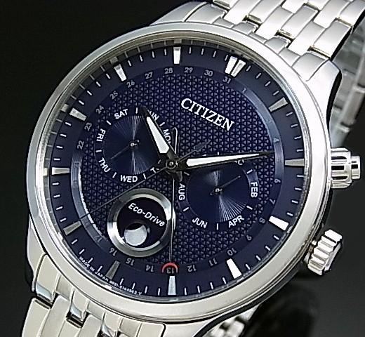 BRIGHT  CITIZEN  ecodrive men solar watch moon phase navy clockface ... 12f4bcf634b4