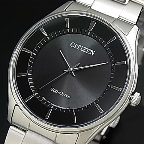 CITIZEN/Standard【シチズン/スタンダード】メンズ ソーラー腕時計 ブラック文字盤 メタルベルト 海外モデル【並行輸入品】BJ6481-58E