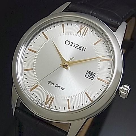 CITIZEN/Standard【シチズン/スタンダード】メンズ ソーラー腕時計 シルバー/ゴールド文字盤 ブラックレザーベルト 海外モデル【並行輸入品】AW1236-11A